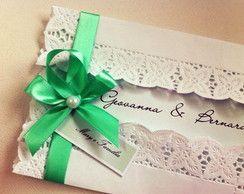 Convite de Casamento Vintage Verde
