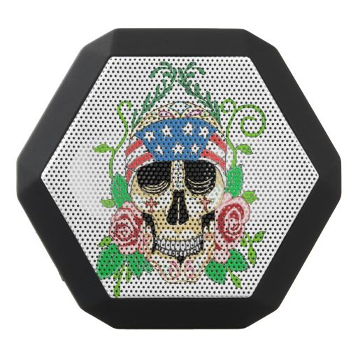 Biker Sugar Skull Boombot REX Speakers #speakers #Zazzle #Biker #sugarskull