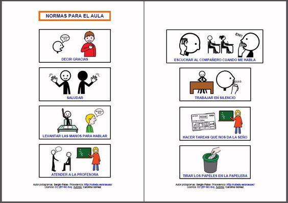 Materiales normas para la clase conjunto de tarjetas for Actividades para el salon
