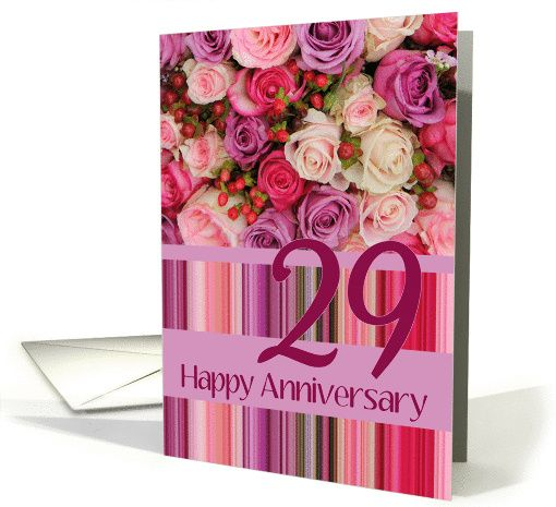 29th Wedding Anniversary Card Pastel Roses And Stripes Card Wedding Anniversary Cards 41st Wedding Anniversary 30th Wedding Anniversary Card