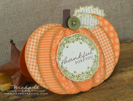 Thankful Pumpkin Card by Nichole Heady for Papertrey Ink (August 2012)