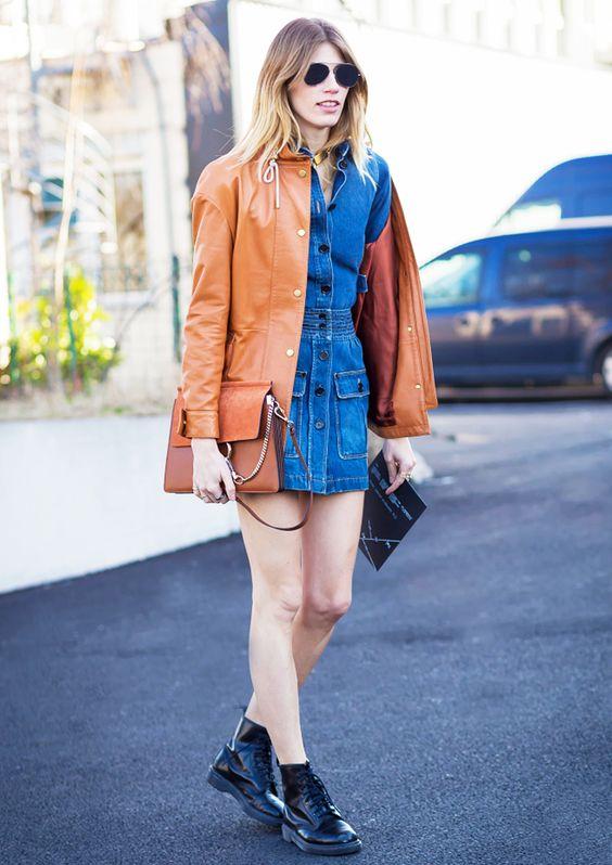 Veronika Heilbrunner in brown leather Acne Studios jacket paired with Chloe bag.: