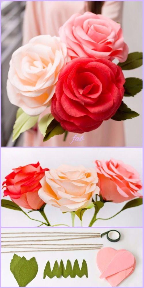 Diy Crepe Paper Rose Tutorial Wedding Flower Bouquet In 2020 Paper Flowers Roses Paper Roses Paper Roses Bouquet