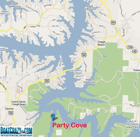 Map of Party Cove Lake of the Ozarks MO  Lake of the Ozarks