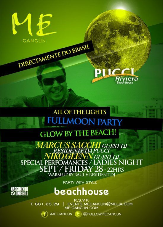 All OF The Lights Fullmoon Party Glow BY The Beach at Me By Melia Cancun