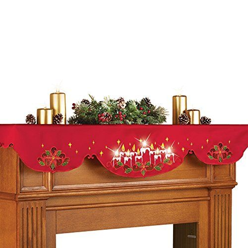 Lighted christmas candles mantel scarf decor - Appealing christmas led candles for christmas decorations ...