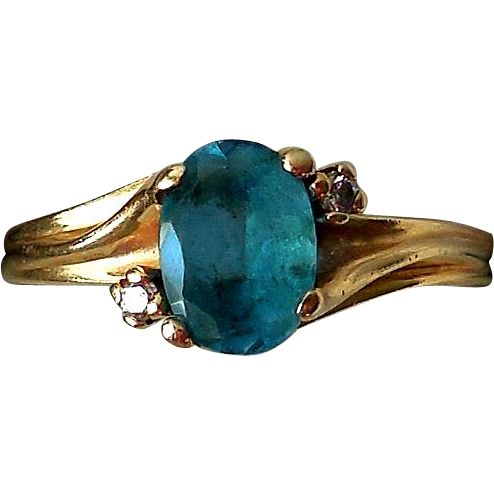 Vintage 14K Yellow Gold, Blue Topaz, Diamonds Estate Ring found at www.rubylane.com @rubylanecom
