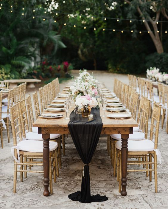 White Round Tables with a Black Chiffon Runner? 4