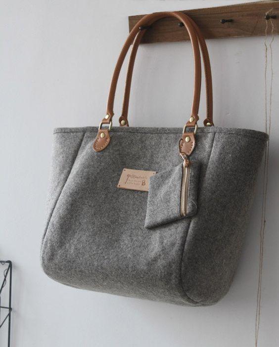 prada shoulder bag - Handmade Grey Bag Purse/Shoulder Handbag-Felt Wool by Burlap ...