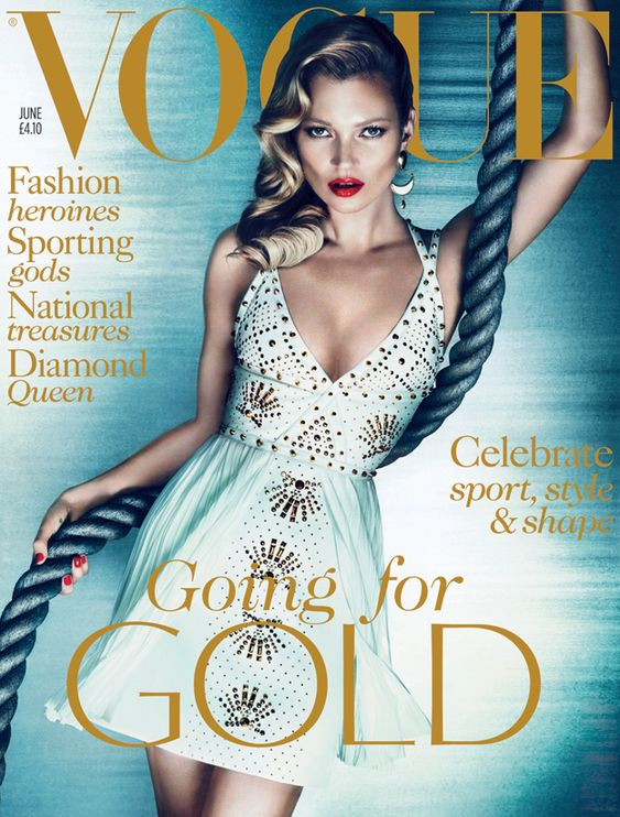 June 2012 Kate Moss wears studded leather and silk dress, from £4,030, Versace. Crescent earrings, £100, Kara by Kara Ross at Harvey Nichols. All make-up by Tom Ford Beauty. Hair: Malcolm Edwards. Make-up: Charlotte Tilbury. Set designer: Shona Heath. Fashion Editor: Lucinda Chambers. Photographers: Mert Alas and Marcus Piggott.