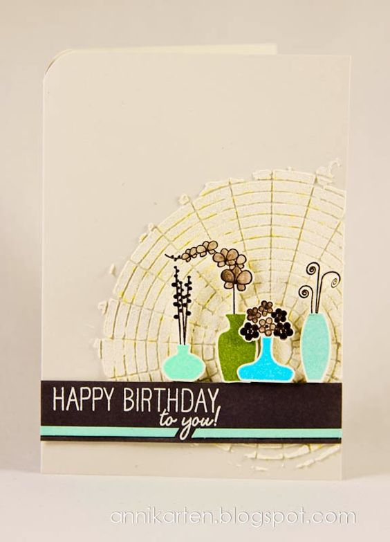 "Anni Cards: Lottie and Lisa # 78 | Stamp:  Papertrey Ink (""Gracious Vases"") W Plus 9 (""Strictly Sentiments""); Template:  Studio Calico (""Circle Graph Mask""); Strukturpaste:  Rayher; Stamp Pads:  Versamark, Memnto Luxe; Embossing powder:  Stampin 'Up, stamping for, Stampendous, Color Box"