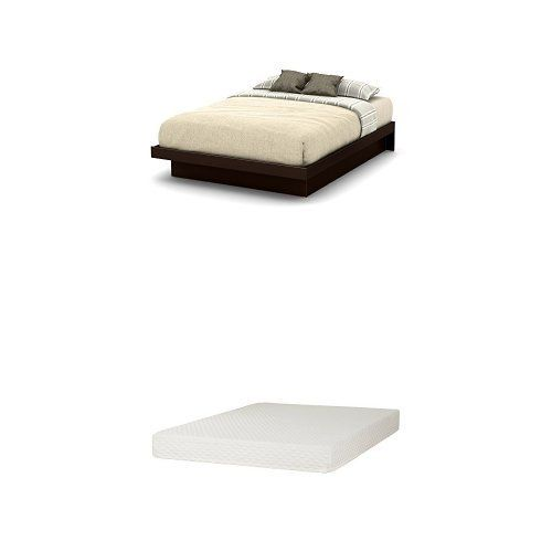 South Shore Basic Queen Platform Bed 60 With Moldings Chocolate And Somea Queen Mattress Included With Images Queen Platform Bed Queen Mattress Platform Bed