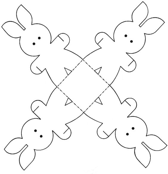 This is a cute Bunny Box - print the image on card - colour it in then cut around the edges and assemble - the bunnies all link hands and st...: