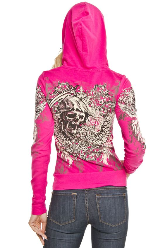 Platinum Plush Jacket with Skull, Wings & Cross in Hot Pink - Beyond the Rack