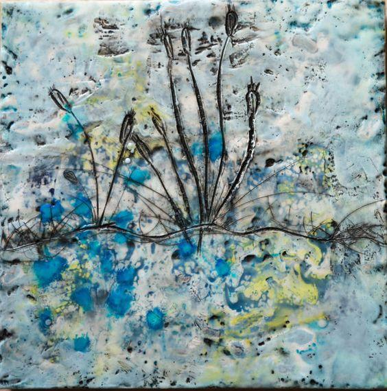 10 x 10 Pond Original Encaustic Painting by BeesNTreesEncaustics