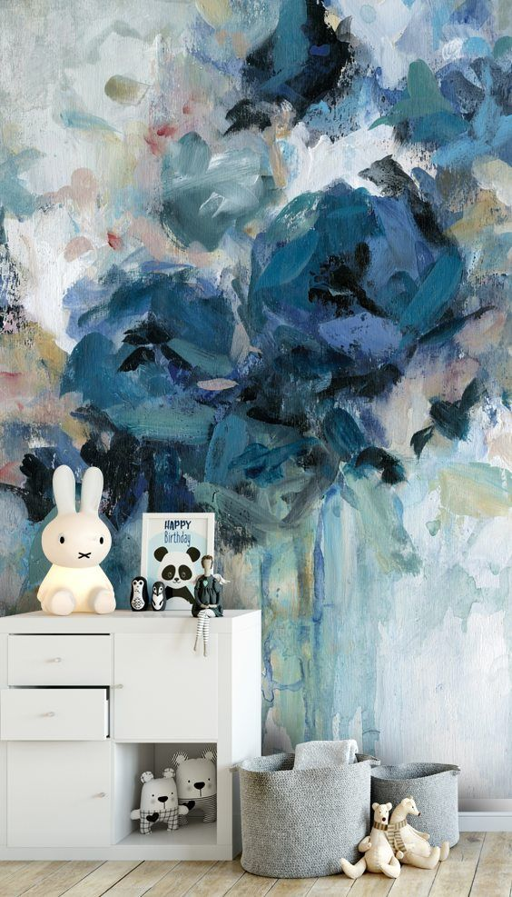 Stunning Midnight Splash Wall Mural From Wallsauce This High Quality Midnight Splash Wa Modern Floral Wallpaper Floral Wallpaper Bedroom Blue Floral Wallpaper