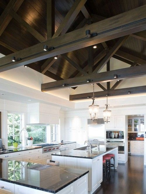 Tongue And Groove Ceiling With Lighting Along Beams Farmhouse Kitchen Lighting Contemporary Kitchen Wood Beam Ceiling
