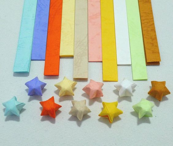 This listing is for 70 strips of origami paper strips for folding lucky origami stars. These star strips has ten pretty and cheerful spring colors
