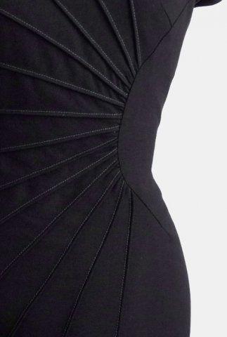 Innovative Pattern Cutting - dress with radiating darts; creative sewing idea; fabric manipulation; fashion detail