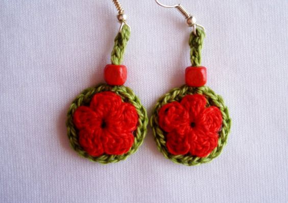 Pendientes rojos pendientes boho chic pendientes por DIDIcrochet