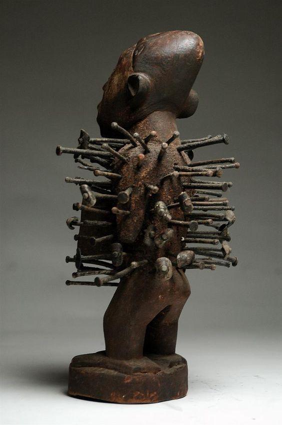 Bakongo, nail, fetish, yombe, vili, kongo, african art, africa, african art, gallery, ethnographic, antique, tribal, david malik, african atribal art, artenegro, power figure,