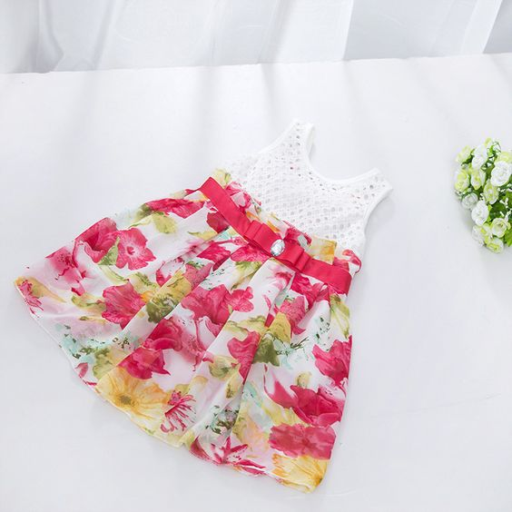 $5.46 (Buy here: http://appdeal.ru/46ax ) Kids Girls Hollow Out Big Bow Tutu Dress Sleeveless Lace Floral Princess Dress New for just $5.46