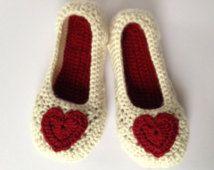 De gift van de dag van de rode hart haak Slippers.Mothers. Antislip enige. Huis schoenen. Bruidsmeisje sloffen. Bruiloft slippers