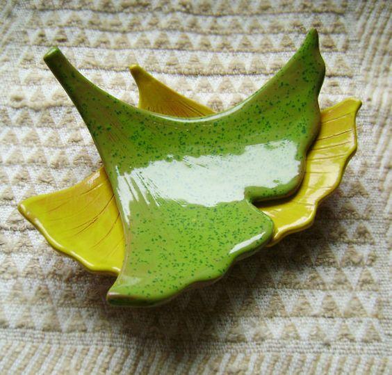Ginkgo Leaf Ceramic Madge Dish, Spring, catchall, jewelry, ring holder, decor, soap dish, candle holder, teabag holder, spoonrest.  $15