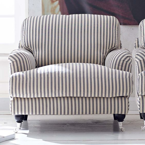 Stripes black white pinterest chairs stripes and for Large comfy armchairs