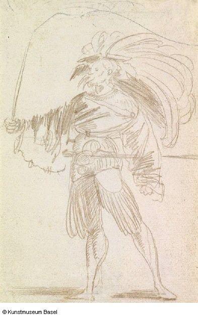 Artist: Graf, Urs, Title: Bannerträger vom Rücken gesehen, nach rechts schreitend, Date: ca. 1520-1521