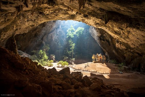 Temple in a cave, Thailand. Located in the Khao Sam Roi Yot National Park.  (No PS trickery)  |  Photo by Maxim Fedorov