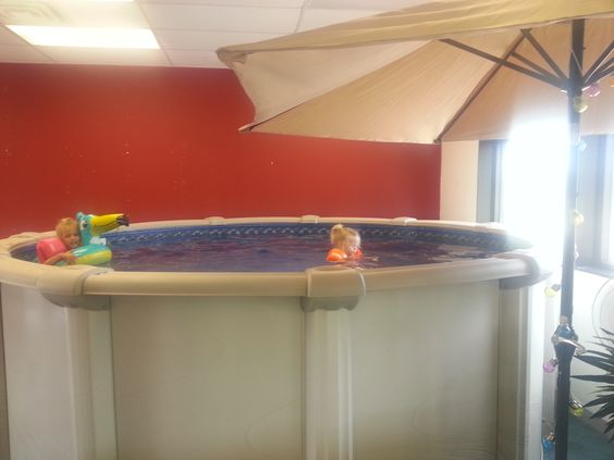 Elegant Pools above ground demo inside our store at 91st and Elm in Broken Arrow OK. Our kids love swimming in it!
