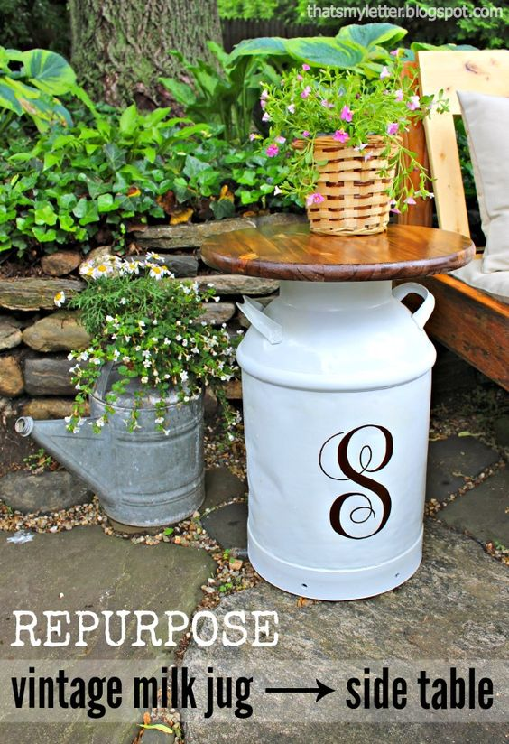 Repurposed vintage milk jug side tables pretty handy for Repurposed milk cans