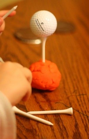 Playdough, golf tees and golf balls