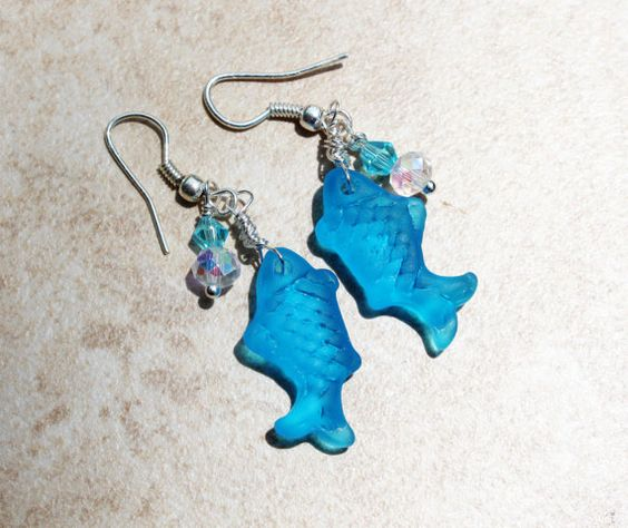 Nautical Seaglass Fish Dark Aqua Dangle Earrings by InaraJewels, $18.95
