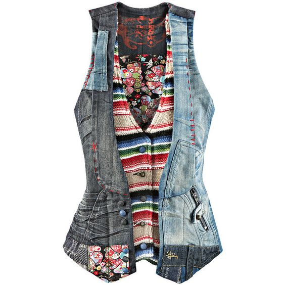 Denim Vest Jeansweste von DESIGUAL ab 139,00 € im Impressionen Online... ($180) ❤ liked on Polyvore