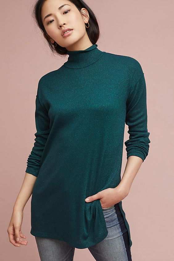 Slide View: 1: Shining Turtleneck Tunic