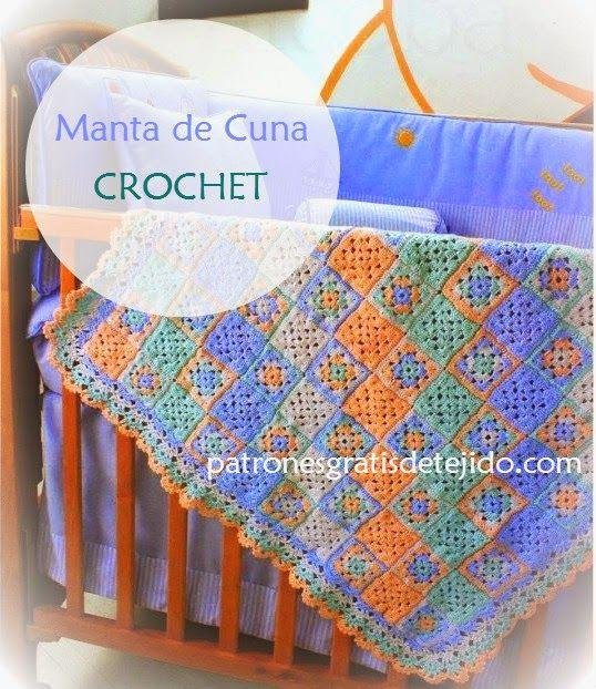 Patrones de manta para cuna en cuatro colores tejida con - Patrones de mantas a crochet ...