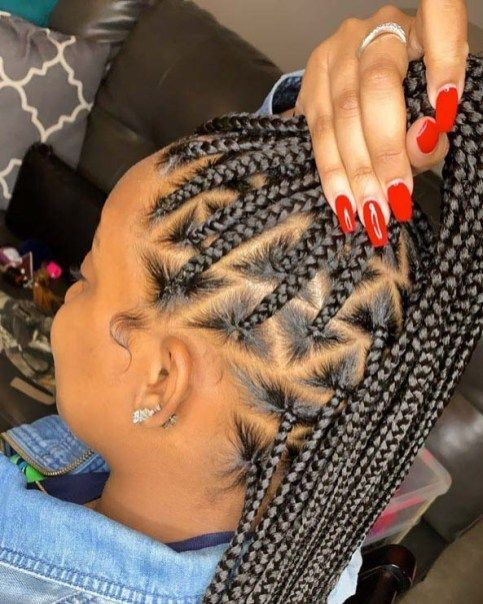 Braided Triangle Style box braids 2021