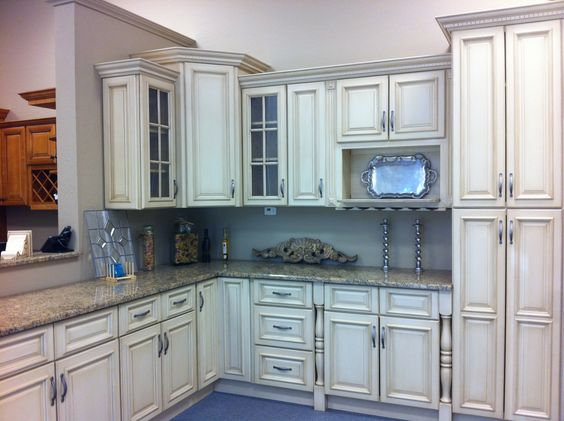 Vintage Cream Cabinets For Kitchen Cabinetry Set Polished And Grey ...