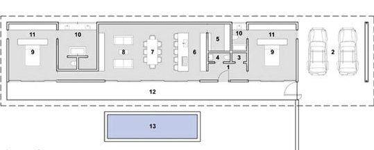 Plano de casa de una planta con piscina casa moderna for Casas alargadas