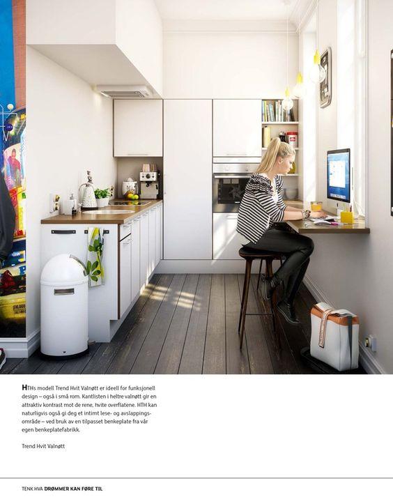 Kjøkken, utleie liten leilighet smart bruk av forlenget benkeplate ...