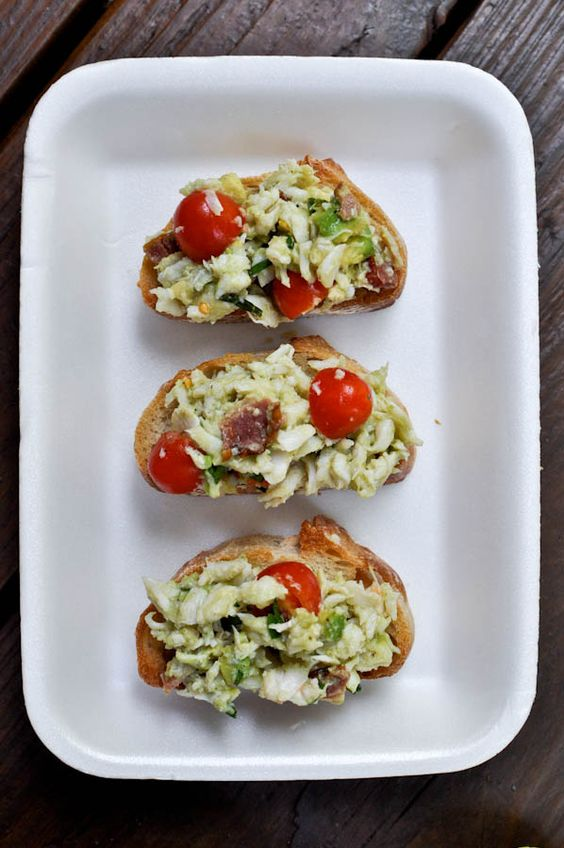 : lump crab meat, avocado, grape tomatoes, fried and crumbled bacon ...