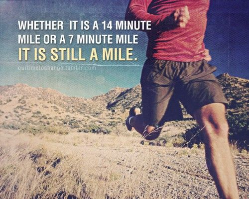 A mile is a mile..I love this because I do love running...but speed is not what I go for :)