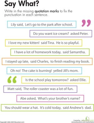 Commas In Dialogue Worksheets Third Grade - punctuating dialogue ...