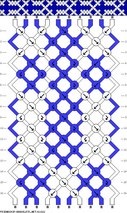 Blanc et bleu - cross pattern friendship bracelet