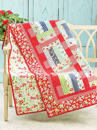 "Make this quick and easy quilt using just 24 precut 2 1/2"" strips. You can also…:"