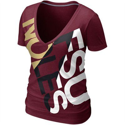 Nike Florida State Seminoles (FSU) Ladies Deep V Blended T-Shirt - Garnet