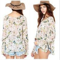 Wish | Summer Women Long Sleeve Floral Print Chiffon Shirts Fashion Deep V-Neck Loose Transparent Blouses