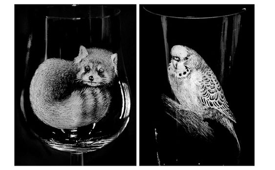 Glass Engraving. How to Achieve a 3D Effect and Fine Detail To Fur and feathers by Eternal Tools. The glass engravings seen here are by Alan Sinclair. Alan achieves his detail using his own technique of hand held pin vice with diamond point burs and mini rubber silicone pin polishers and knife edge shaped all from Eternal Tools